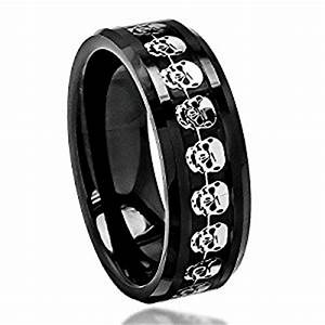 8mm men39s ceramic 3d skull inlay wedding band comfort fit With skull wedding rings for men