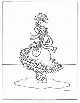 Spanish Flamenco Coloring Dancer Printable Pages Mr Adron sketch template