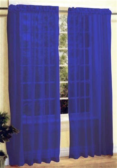 2 pc sheer voile window curtain panel set royal blue by