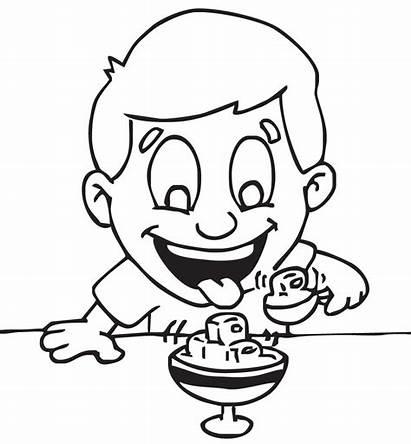 Eating Clipart Ice Cream Line Kid Jello