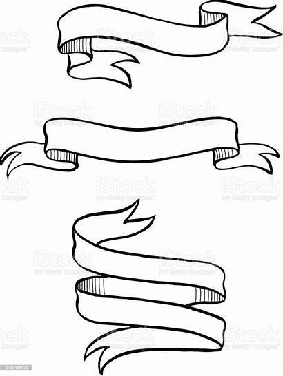 Ribbon Banner Drawn Hand Drawing Vector Sign