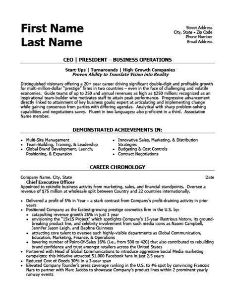 ceo president resume template premium resume sles