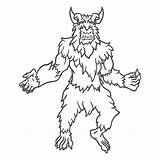 Outline Yeti Posing Mythical Transparent Svg Vexels sketch template