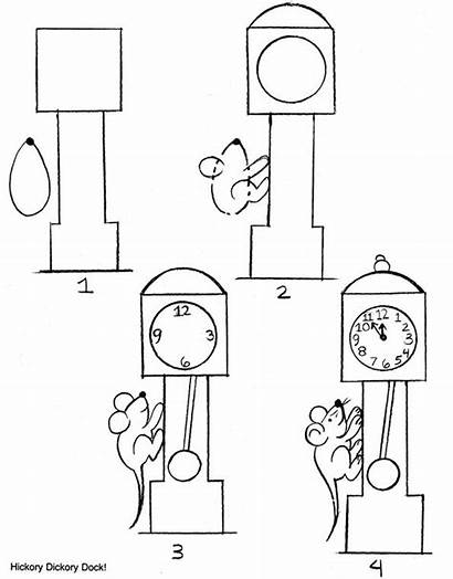 Hickory Dickory Dock Nursery Draw Rhyme Coloring
