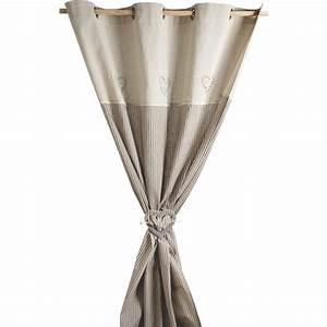 Embrasse Pour Rideaux : rideau coeurs gris avec embrasse nri1870 aubry gaspard ~ Teatrodelosmanantiales.com Idées de Décoration