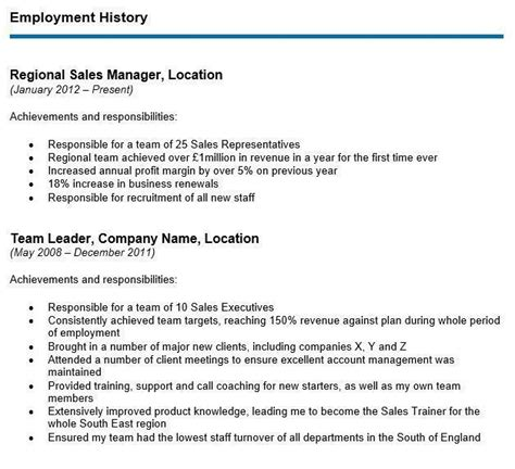Poor Employment History by How To Write Your Cv S Employment History Section With