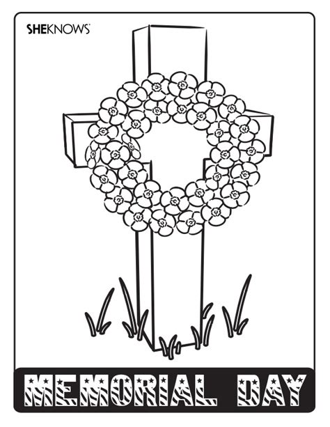 memorial day wreath  printable coloring pages