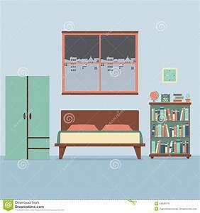 Flat Design Bedroom Interior Stock Vector Image 44239776