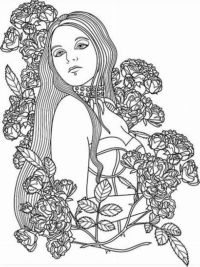 Gothic Coloring Pages Adults Dark Woman Adult