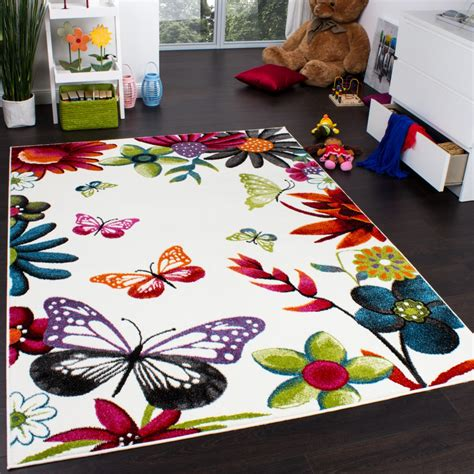 tapis chambre d enfants tapis chambre d 39 enfant papillons multicolore crème