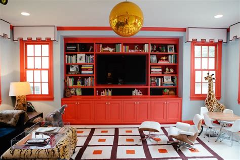 red built  cabinets contemporary media room