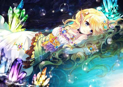Anime Elf Blonde Water Anime Girl Beautiful Cute Wallpaper