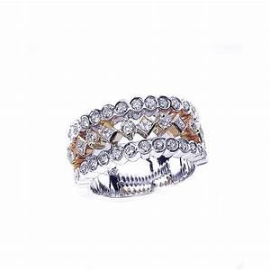 Two tone bezel diamond women39s wedding band 770 for Two tone wedding rings for women