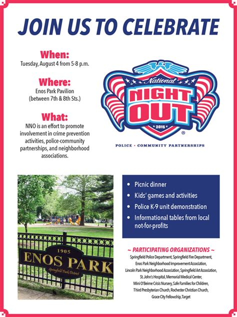 national out flyer template national out august 4 2015 enos park pavilion enos park neighborhood improvement