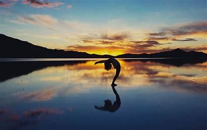 Yoga Lake Silhouette Background 4k Ultra Horizon