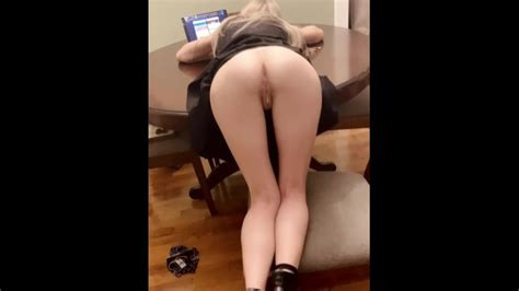 Petite Blonde Browsing Tumblr Gets Bent Over The Table And