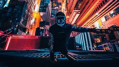Neon 4k Mask Guy Building Wallpapers Climbing
