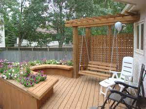 Stone Garden Seats And Benches by Deck Swing Pergola And Built In Planter Box The Lawn Salon