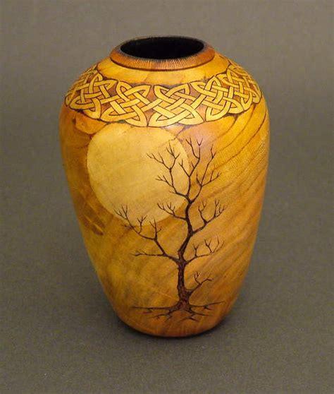 Turned Wood Vase - embelishment on turned wood woodturning and