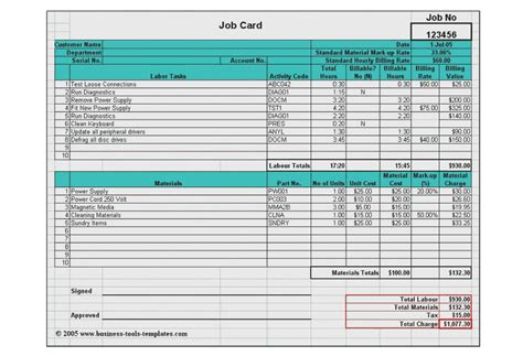 Mechanics Job Card Template