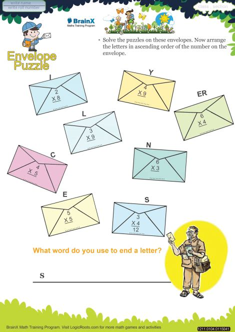 envelope puzzle math worksheet  grade