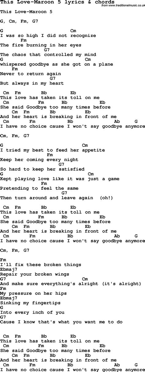 maroon 5 e chords love song lyrics for this love maroon 5 with chords