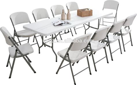 outdoor plastic white folding dining table chair for