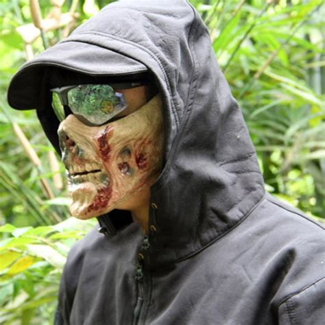 Halloween Silicone Half Masks by Cs Game Airsoft Mask Scary Half Face Zombie Mask Plastic
