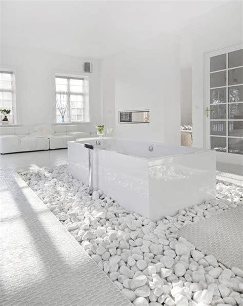 Modern White Bathroom Floor Tile by Sided Fireplace Design Ideas