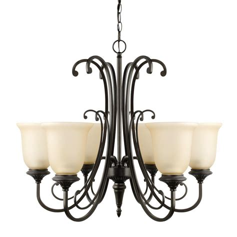 6 Light Chandelier With Shades by Globe Electric Beverly 6 Light Rubbed Bronze