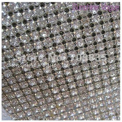 24 row handmade rhinestone mesh trimming with ss18 silver claw white thread 5