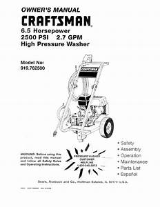 Craftsman High Pressure Washer Owner U0026 39 S Manual
