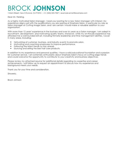 Salon Manager Resume Cover Letter by Salon Manager Cover Letter Exles Salon Spa Fitness