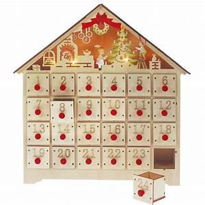 Calendrier De L Avent Maison En Bois : calendrier de l 39 avent maisonnette tiroirs bois 5 leds blach re illumination decoclico ~ Melissatoandfro.com Idées de Décoration