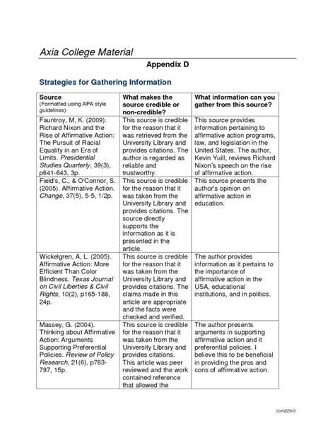 appendix format template business