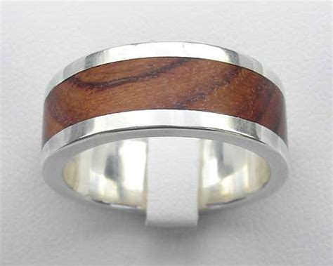 men s wood inlay silver wedding ring love2have in the uk