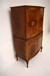 Antique French Burr Walnut & Marquetry Cocktail Cabinet ...