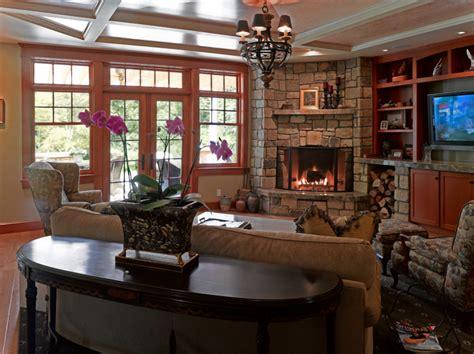 Narrow Room Designs Corner Fireplace Living