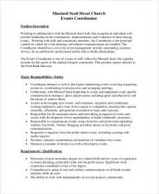 administrative coordinator description sle sle event coordinator description 10 exles in pdf