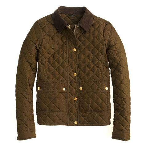 j crew quilted jacket j crew quilted tack jacket in green olive moss lyst