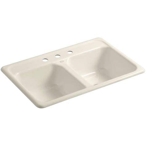 kohler cast iron kitchen sinks kohler delafield drop in cast iron 33 in 3 8812