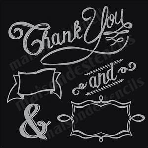 thank you banners in chalk style lettering 12x12 stencil With chalkboard lettering stencils