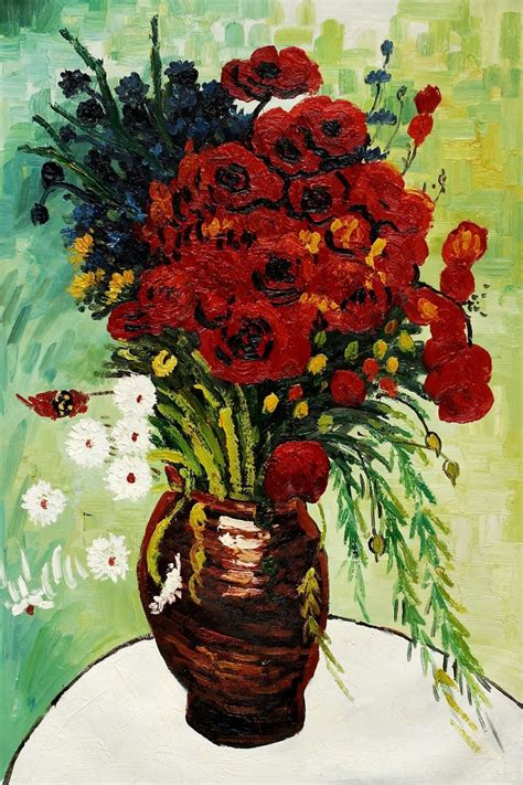 Vase With Poppies Vincent Gogh by Vase With Daisies And Poppies By Vincent Gogh Handpainted