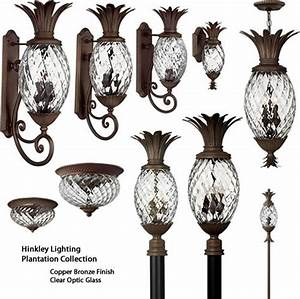 The pineapple lantern pendant and path lights on
