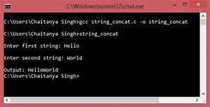 C Program to concatenate two strings without using strcat