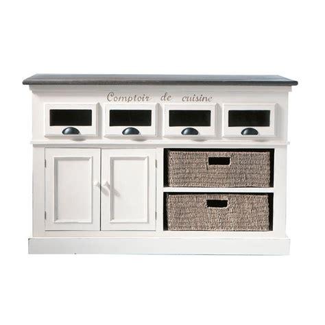 comptoir en bois de paulownia blanc l 130 cm comptoir des 233 pices maisons du monde