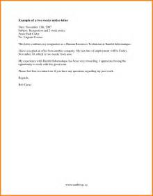 Formal 2 Weeks Notice Letter