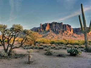 Superstition, Mountains, Mountain, Range, In, Field, Phoenix, Arizona, Usa, Landscape, Desert, Landscapes