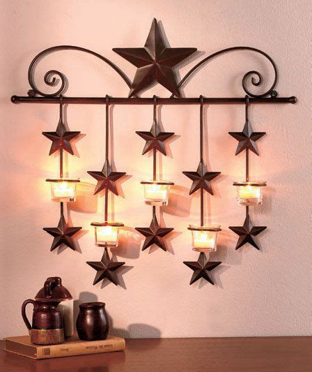 Rustic Metal Star Candle Wall Sconce Glass Tea Light