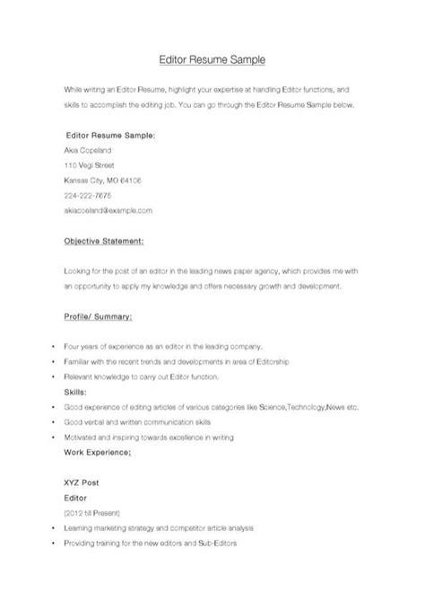 editor resume sample   tidytemplates
